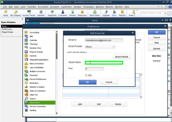 QuickBooks Email enter server name screenshot