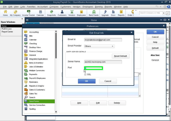 QuickBooks Email: Setting a Port screenshot