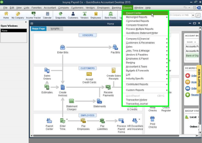 QuickBooks: Opening the Reporting Center screenshot