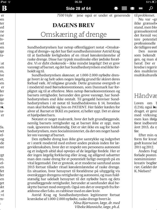 Læserbrev i Berlingske 5. juli 2013