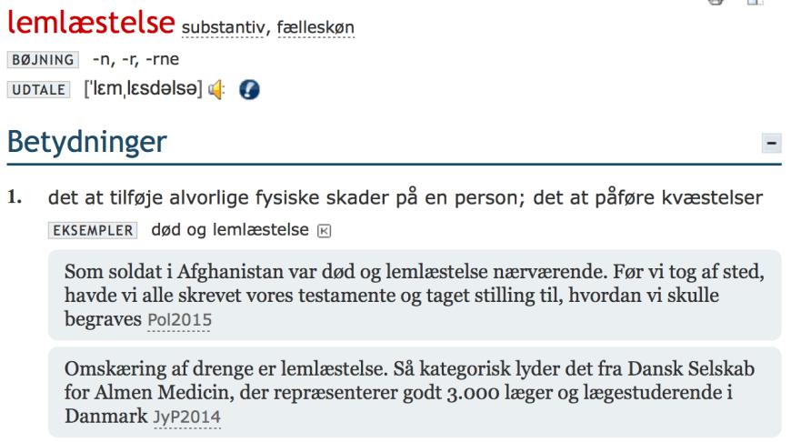Den Store Danske Ordbog - lemlæstelse