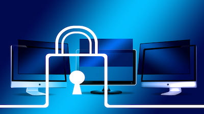 Networked computers with a cyber security icon