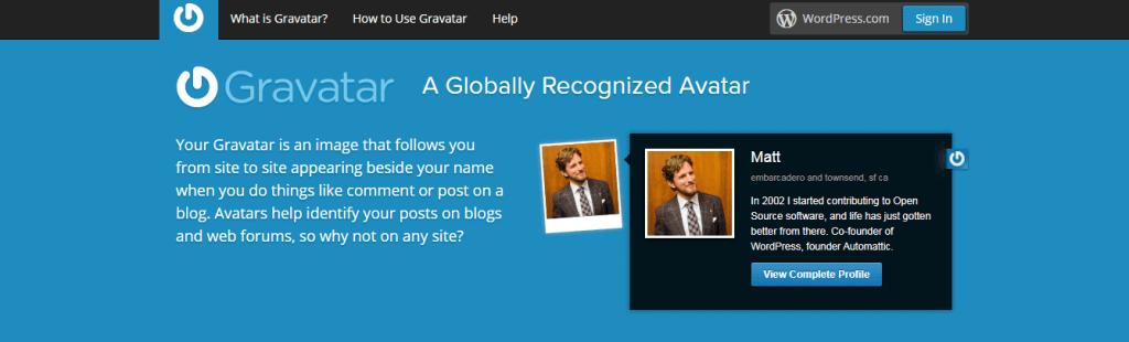 Gravatar Website Screenshot