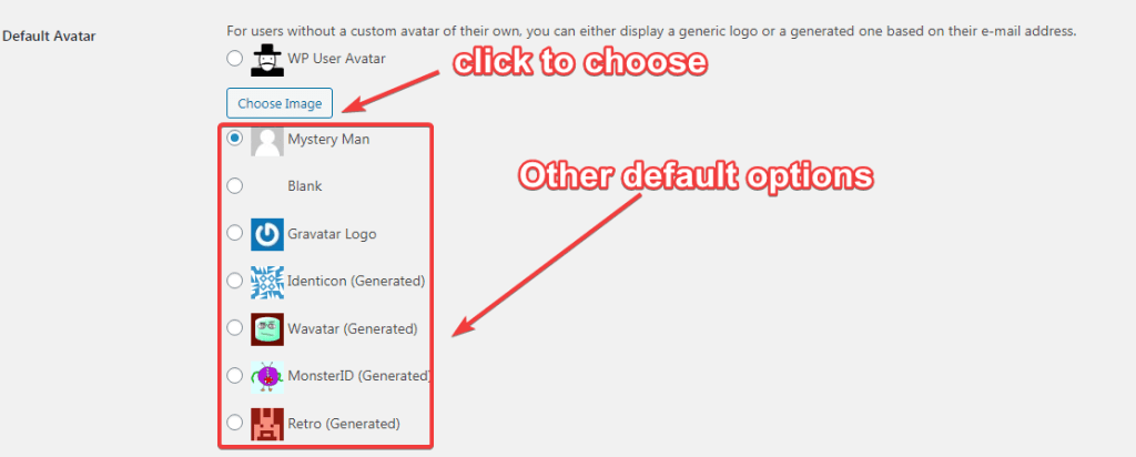 Wp user Avatar default avatars