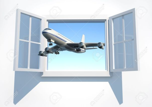 5863140-airplane-flying-through-the-open-window-3d-render-stock-photo