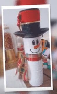 enfeites de natal com materiais reciclados – boneco de neve