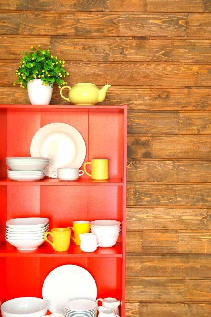 decoração de cozinha com prateleiras 27