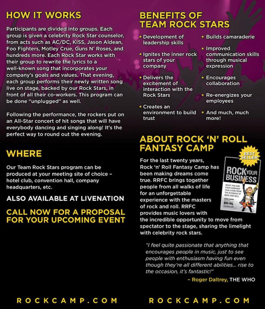 Rock and Roll Fantasy Camp Team Rokstars