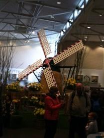 Windmill artificial flower display at the Keukenhof