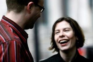 Image of two people communicating