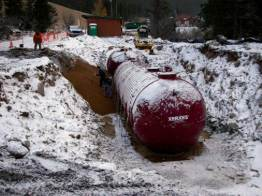 Xerxes wastewater treatment tanks in winter