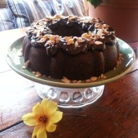 CHOCOLATE GUINNESS BEER & SOUR CREAM BUNDT CAKE WITH DARK CHOCOLATE COFFEE GANACHE