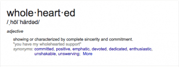 Wholehearted definition