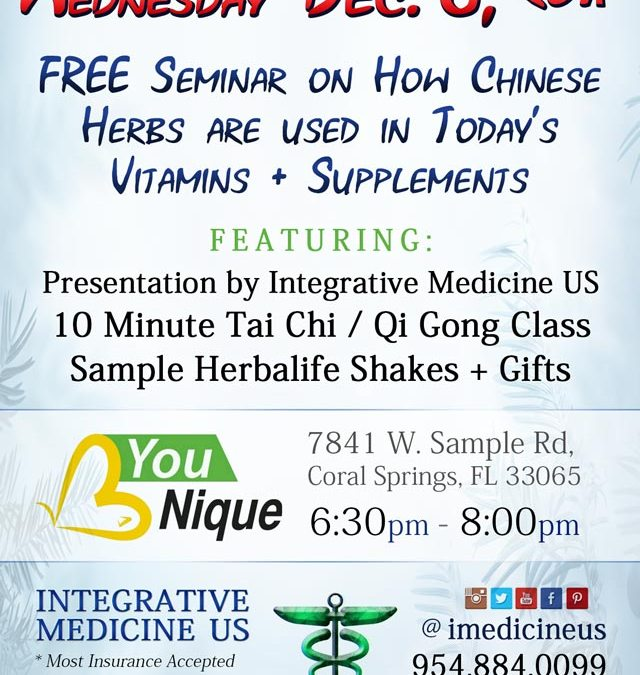 Coral Springs Acupuncture Seminar at B Younique Nutrition Dec 6