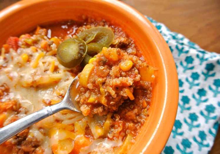 Veggie Packed Quinoa and Beef Chili