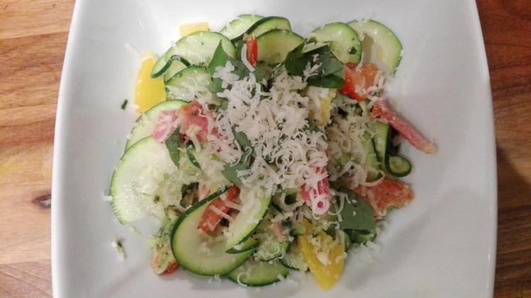 Zucchini Linguine & basil pesto finished