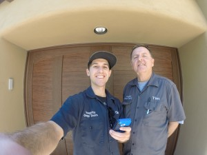 Father & Son - finishing up a new garage door install