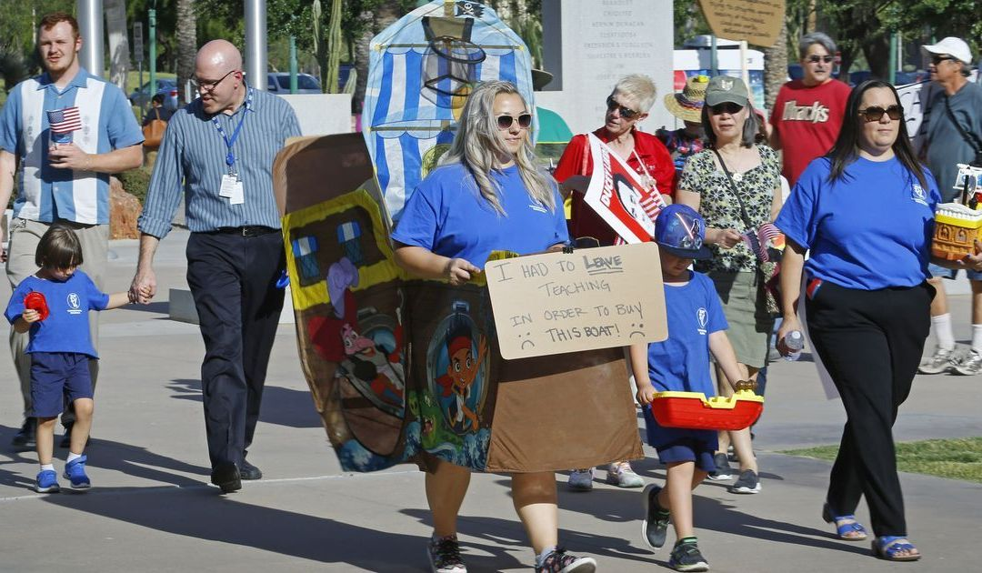 Arizona teachers hold 'boat parade' at state Capitol to protest low pay