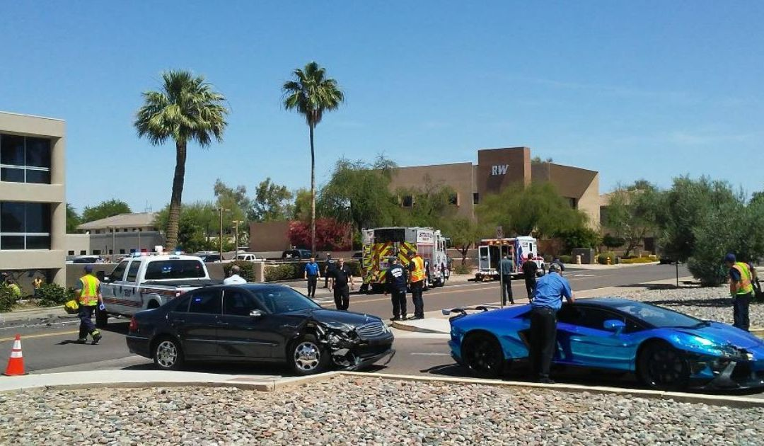 3-vehicle crash sends car into office building in Scottsdale