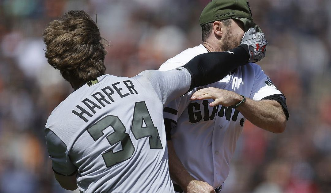 Bryce Harper sparks massive Giants-Nationals brawl after Hunter Strickland drills him