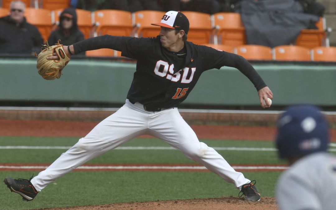 Oregon State pitcher Luke Heimlich excuses himself from team