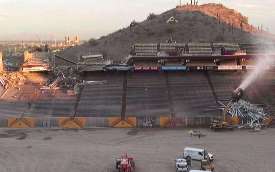Demo crews take down east side of Sun Devil Stadium