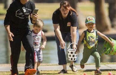 Families gather for Easter egg hunt at Encanto Park in Phoenix 2019