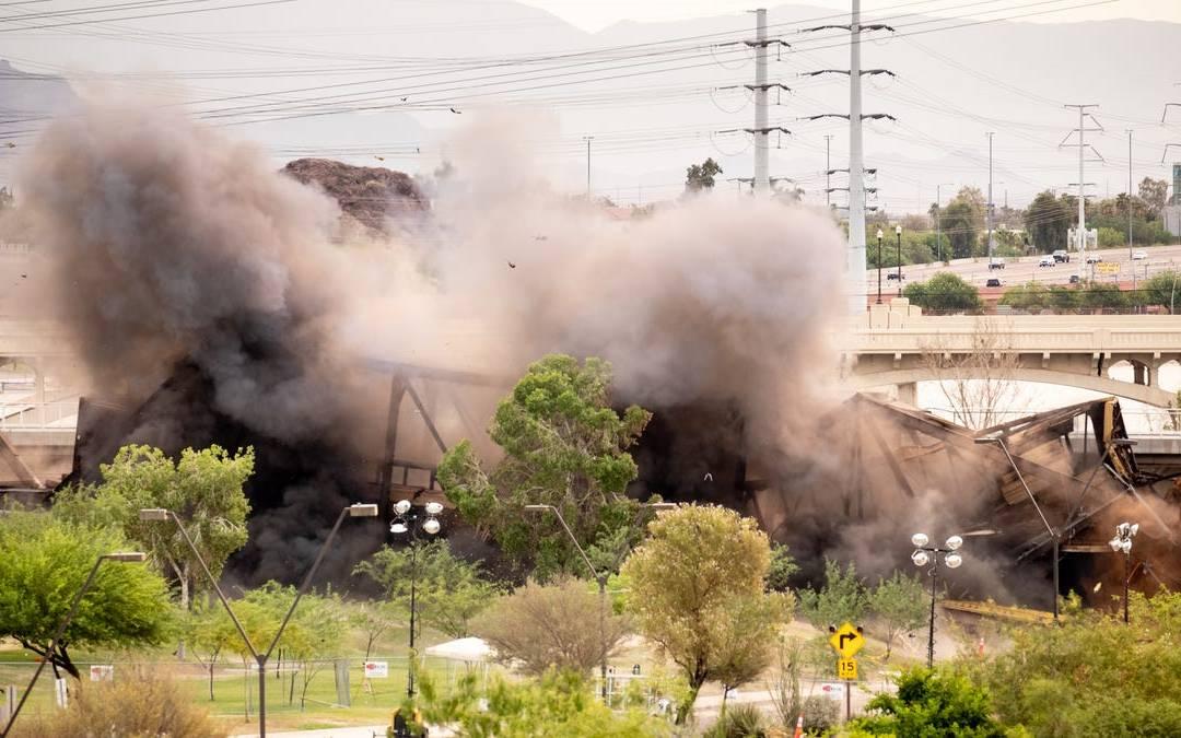 Damaged portion of bridge over Tempe Town Lake detonated
