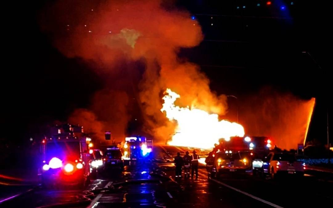 Gas line fire damages Seventh Street bridge near Salt River in Phoenix