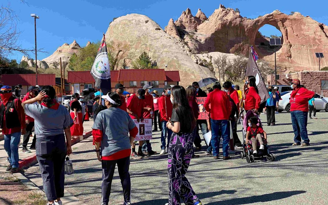 Participants walk in honor of Missing and Murdered Indigenous Women on the Navajo Nation