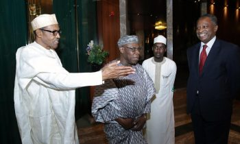 L-R; President Muhammadu Buhari,  Former President Olusegun Obasanjo, Personall assitant to the President Mr Tunde Sabiu, Minister of Foreign Affairs, Mr Geoffrey Onyeama  after his meeting with the President at the State House in Abuja