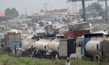 Traffic gridlock on Lagos -Ibadan express way