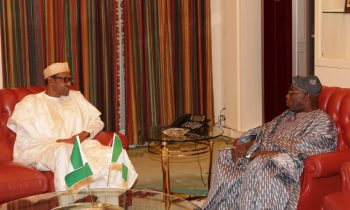 President Muhammadu Buhari and Former President Olusegun Obasanjo during an audience at the State House in Abuja.