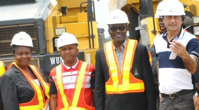 L-R: Engr. Mrs Osarieme Osakue, Federal Ministry of Power, Works and Housing; Engr. Godwin Eke, Federal Controller of Works, Lagos; Chief Mike Ajayi, GM, Western Port; and Ashif Juma, MD/CEO, AG-Dangote Construction company during inspection of AG – Dangote concrete road construction at Itori – Ibese Road, Ogun State by Nigeria Port Authority and Federal Ministry of Works