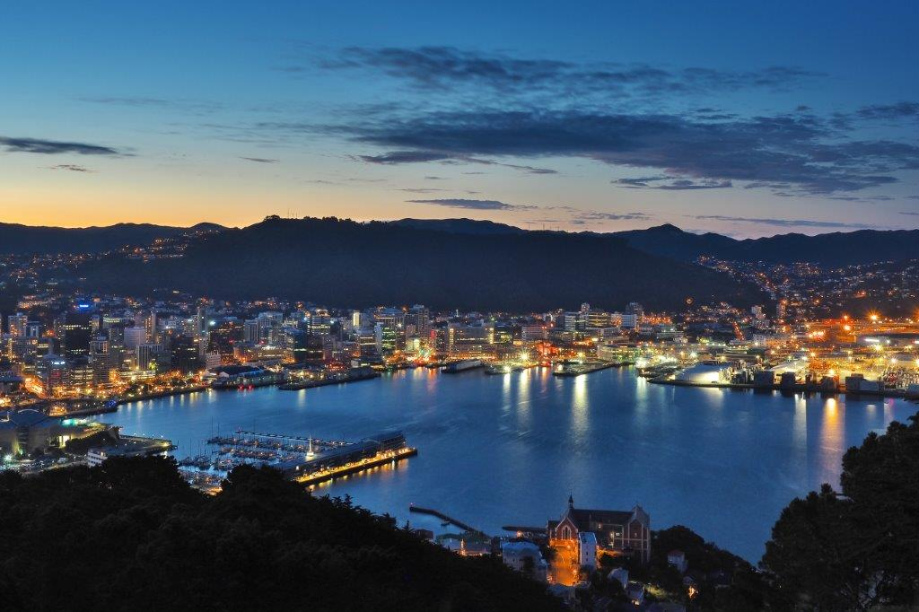 Wellington, NZ at night over the harbour