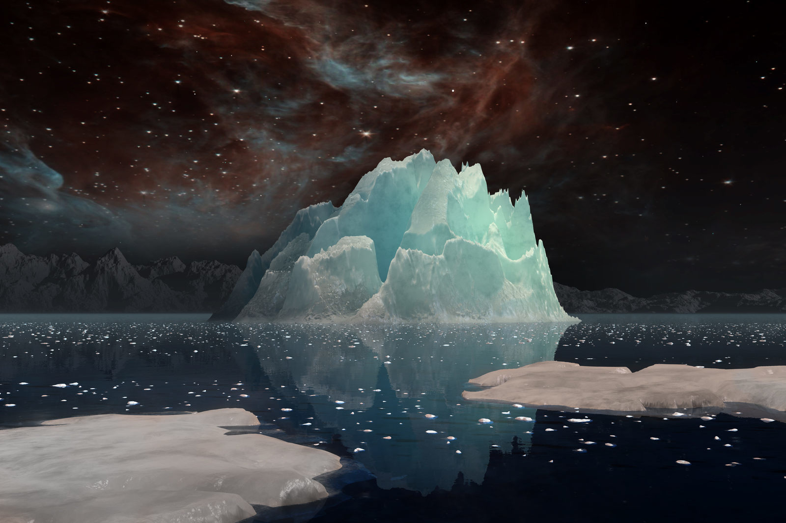 An abstract view of an iceberg under a dark sky in an inky black sea.