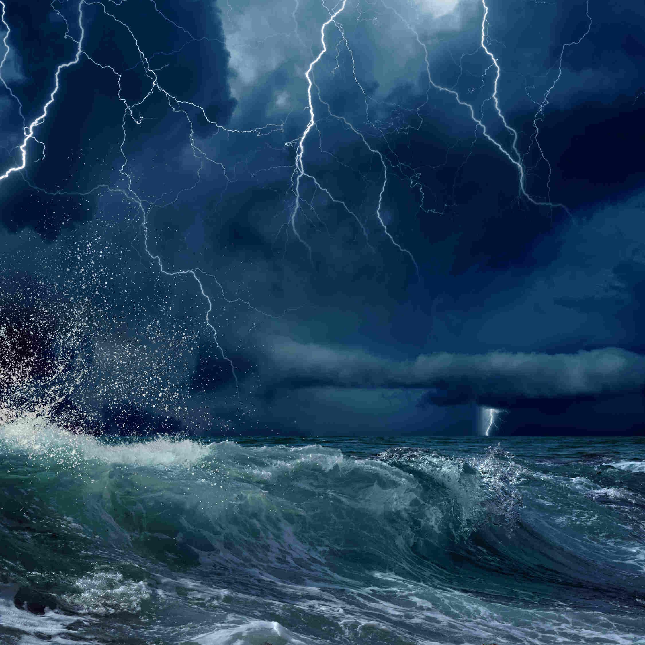 Stormy seas with lightening and rain