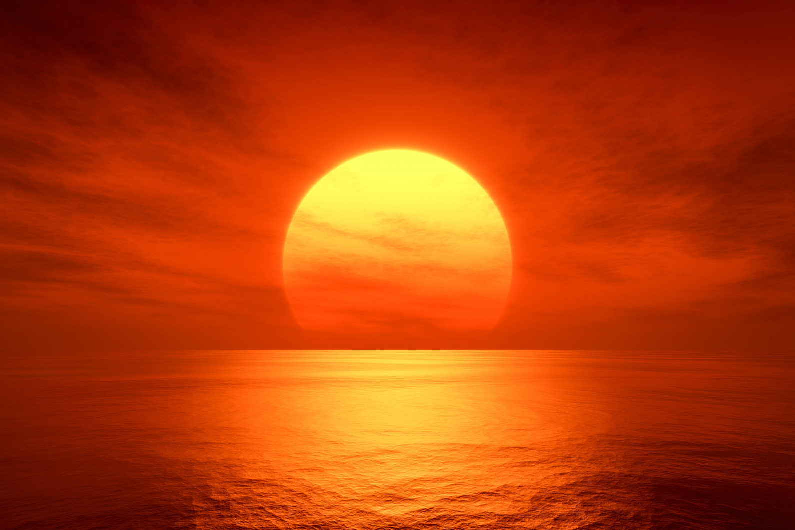 An image of a beautiful red sunset over the ocean