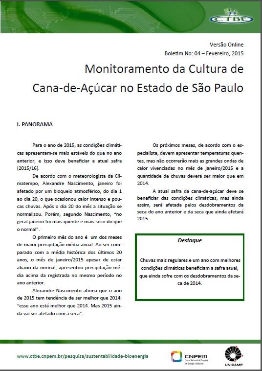 Boletim de Monitoramento da Cana no Estado de São Paulo