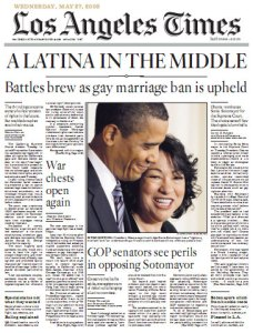 LATimes Front Page: Sonia Sotomayor and Gay Marriage Ban Upheld