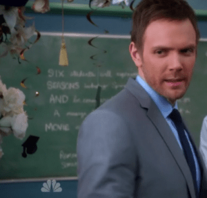 "Six Seasons and a Movie!  Joel McHale as ""Jeff Winger"" in Season 4 Finale, ""Advanced Introduction to Finality"""
