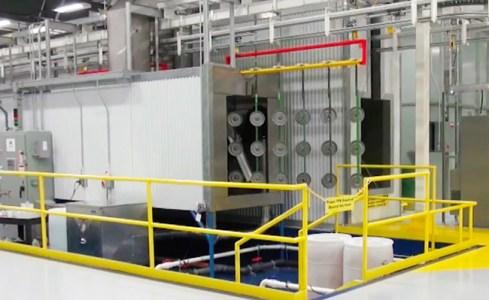 Liquid Paint System Parts Exiting Wash