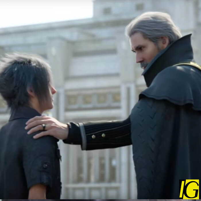 King Regis from Final Fantasy XV, clad in a black cloak with his hand resting on his son, Noctis', shoulder.