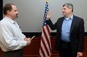 LaPlante (right) sworn in on Feb. 18