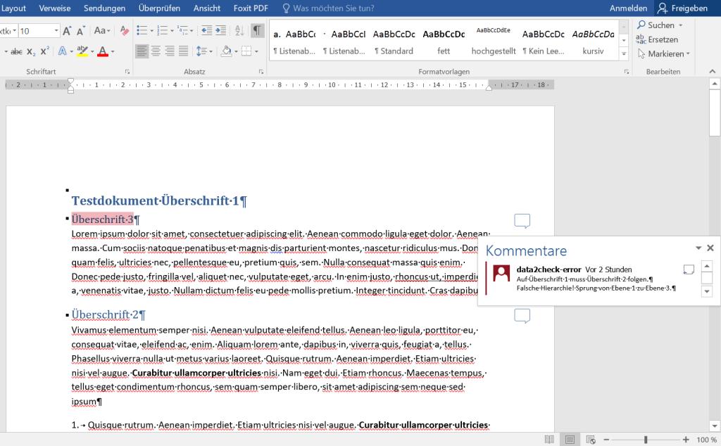 Geprüftes Word-Dokument mit Kommentaren