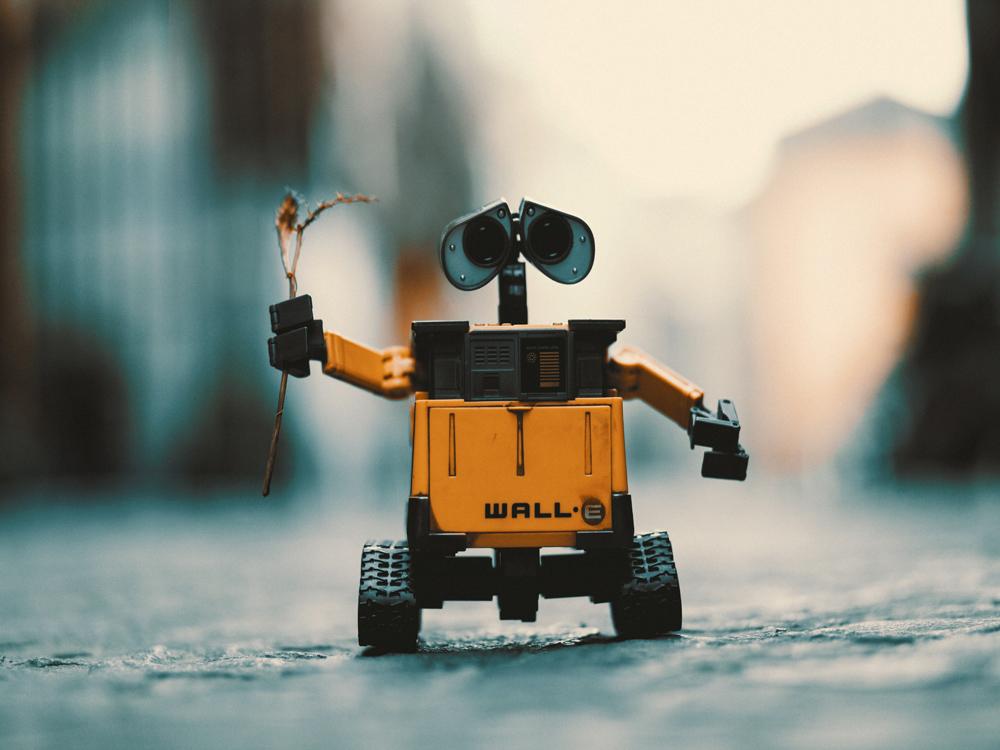Wall-E hält ein Blümchen hoch