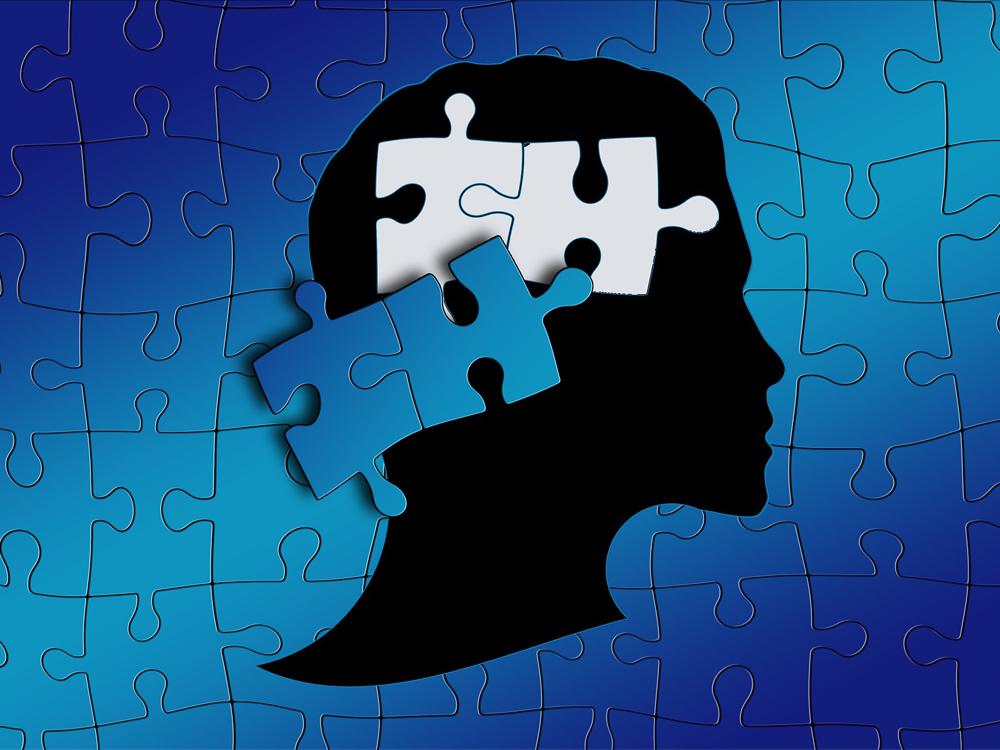 Vor einem mittelblauen Hintergrund, der aus ineinandergreifenden Puzzleteilen besteht, hebt sich der schwarze Umriss eines Kopfes ab. Dort, wo das Gehirn wäre, sind zwei weiße Puzzleteile, die von zwei blauen heranschwebenden gefüllt werden.