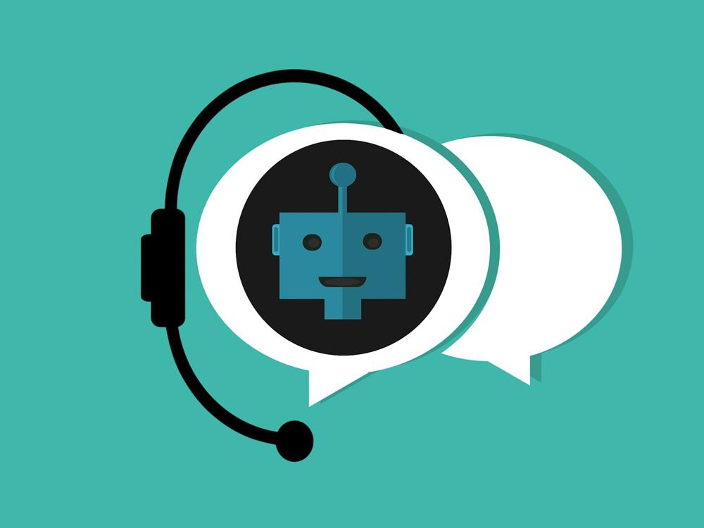 Zwei Sprechblasen - eine ist leer, in der anderen ist das Bild eines Chatbots. Diese Blase trägt ein Headset.