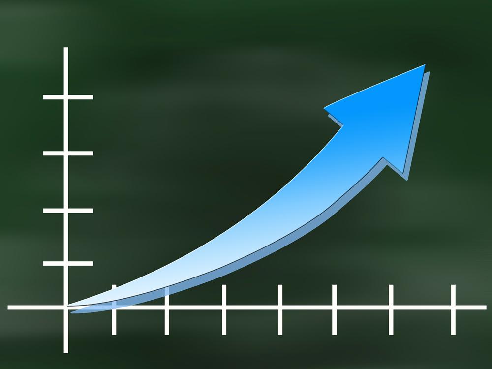 Statistik im Aufschwung: eine schematische Grafik, über die ein Pfeil den Aufschwung der Statistik anzeigt.