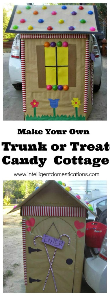 Make Your Own Trunk or Treat Candy Cottage.Instructions at www.intelligentdomestications.com